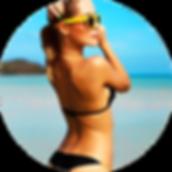 moça bonita na praia de biquini com Bronzeamento Key West Rayz