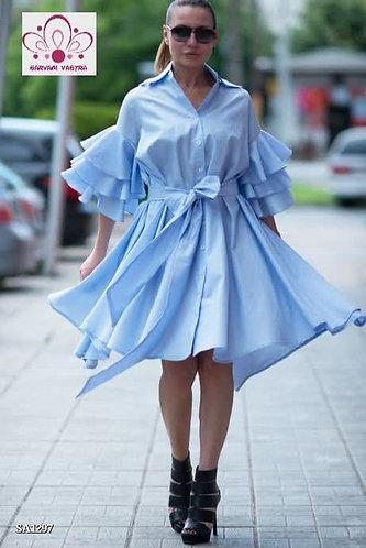 Midi Dress with Ruffle Detailing