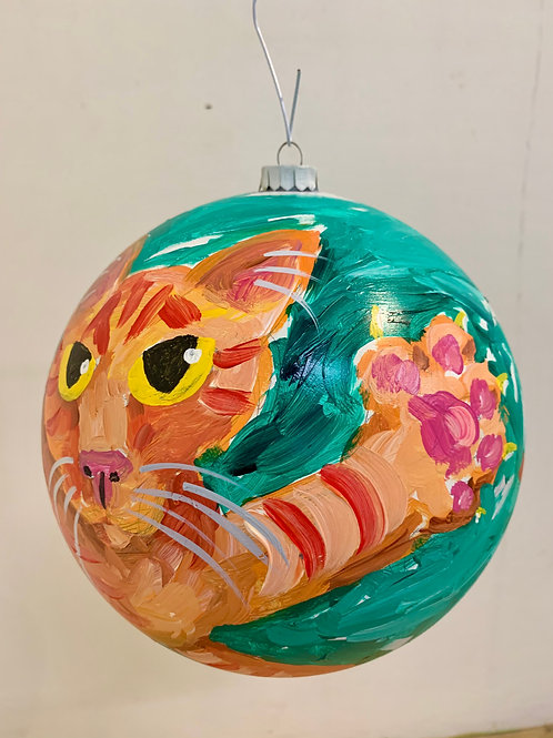 Stripes Cat Teal Ornament
