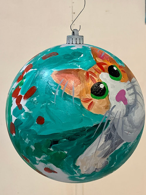 Oliver Cat with White Face Teal Ornament