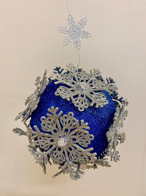 Blue with Silver Snowflakes Ornament