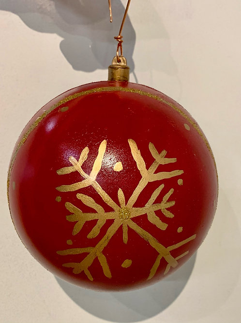 Garnet and Gold Painted Snowflake Ornament