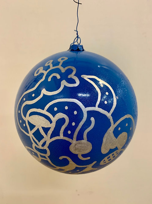 Blue and Silver Drawn Snake Ornament