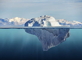 iceberg with above and underwater view t