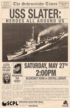SCPL Program Poster in WWII Newspaper Style