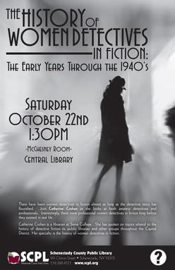 SCPL Program Poster in Film Noir Style