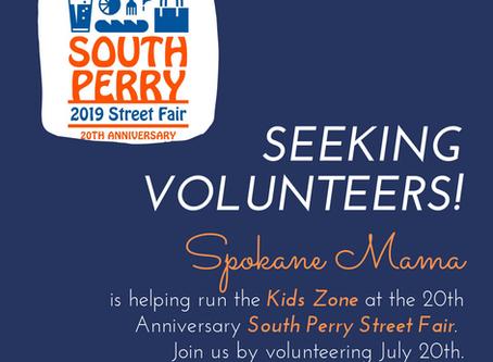 Seeking volunteers! Kids Zone @ the South Perry Street Fair.