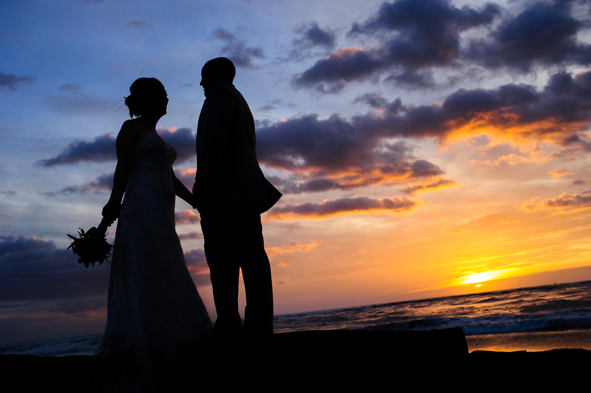 Sunset beach small wedding photos CR
