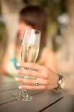 Costa Rica wedding champagne toast photo