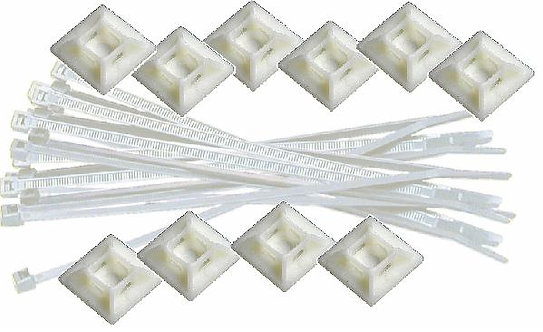 MK170 White Cable Ties 20 & Holders 10