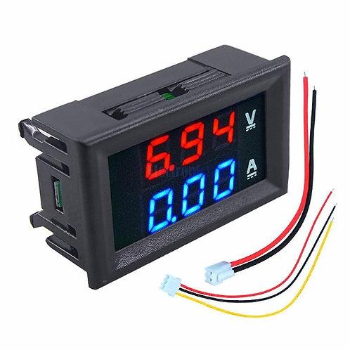 EM210 Panel Mounted Digital LED 100V Voltmeter, 10A Ammeter