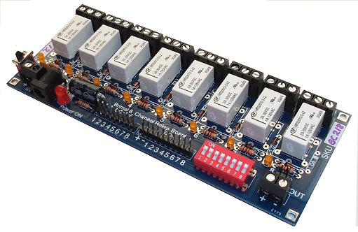 BC218 Relay Board 8 way Twin Coil Latching Relays with 3 Amp SPCO Contacts