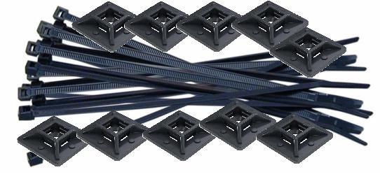 MK175 Black Cable Ties 20 & Holders 10