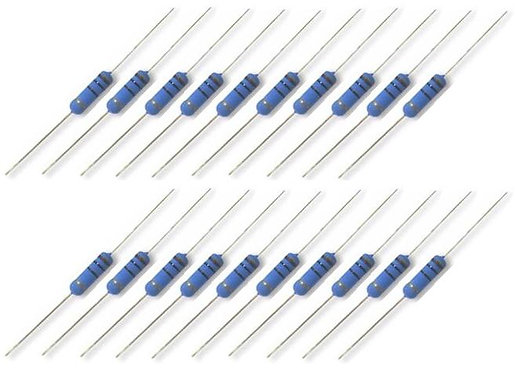 CR25 high stability carbon film resistors. 1/4w (20 pack)
