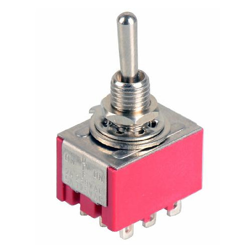 SW319 Mini 3PDT Toggle Switch On - Off  - On