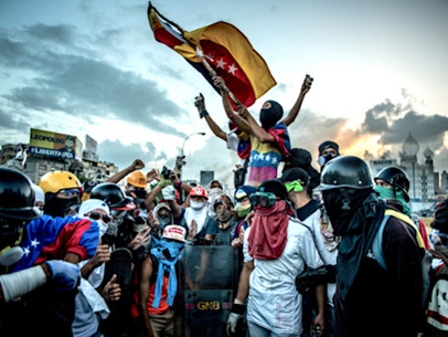 The Battle for Venezuela, Through a Lens, Helmet and Gas Mask