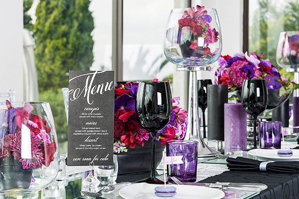 A purple tablescape