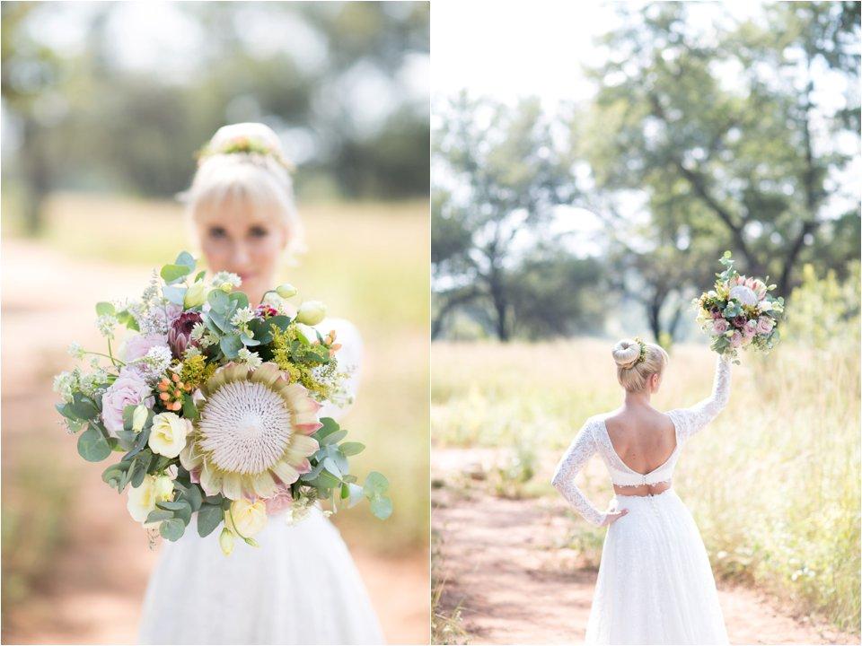 Unique protea bridal bouquet