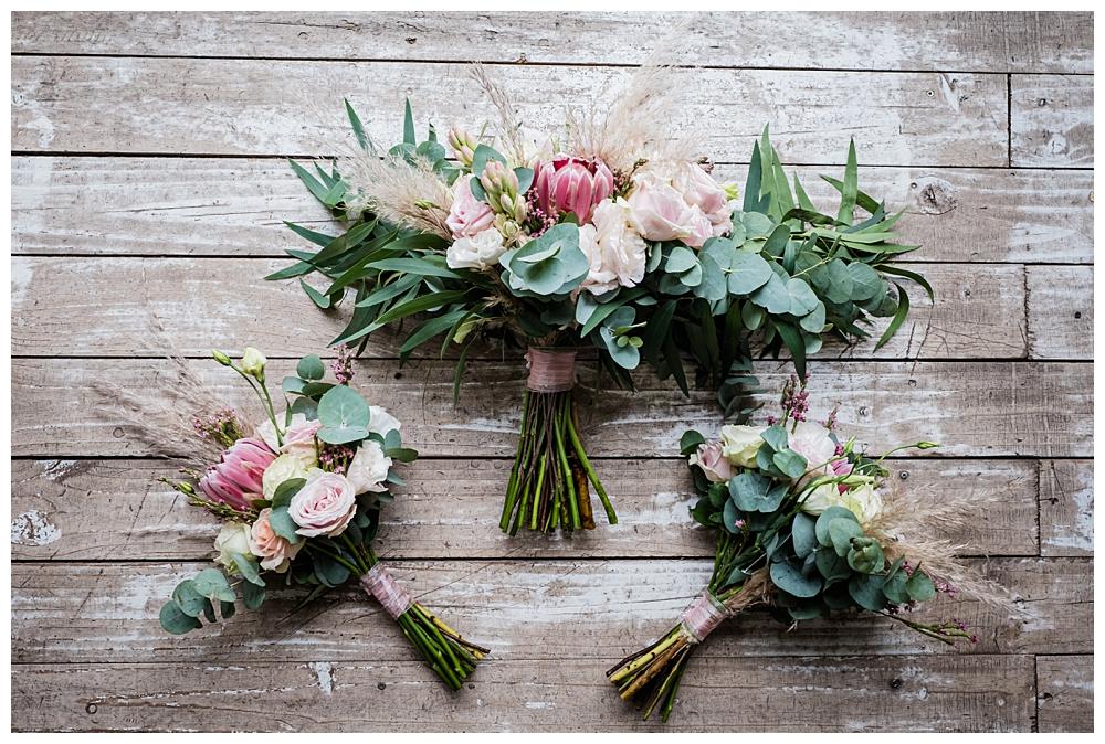 Bride & bridesmaids protea bouquets