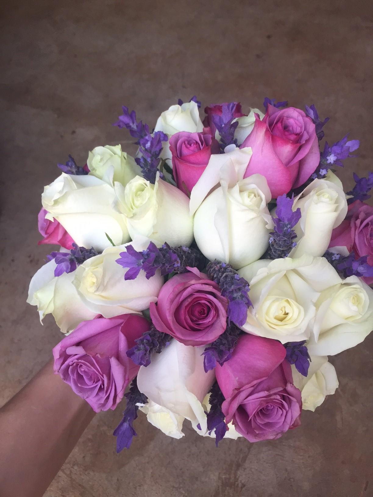 Purple and white bridal bouquet
