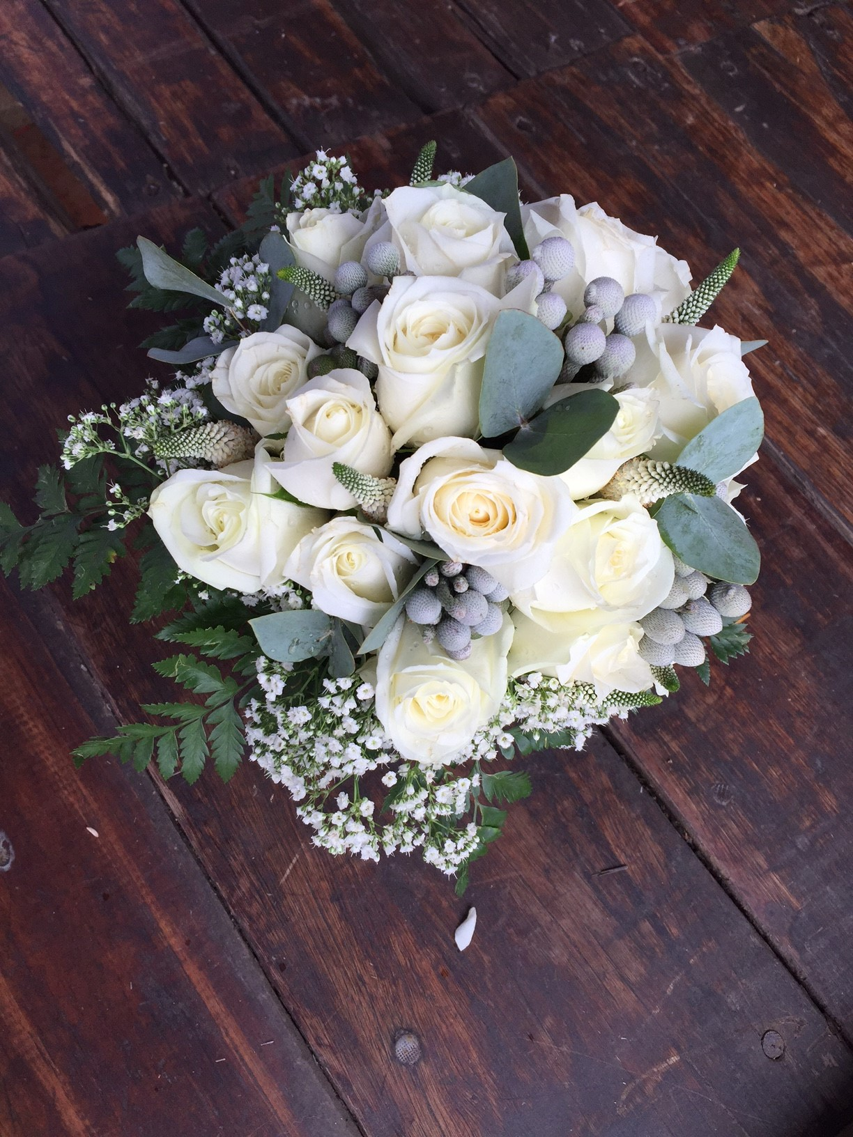 A white hand tied bouquet
