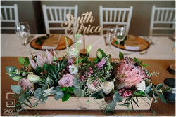 Rustic, wooden box centerpiece