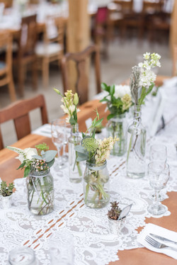 Lots of jars for this centerpiece