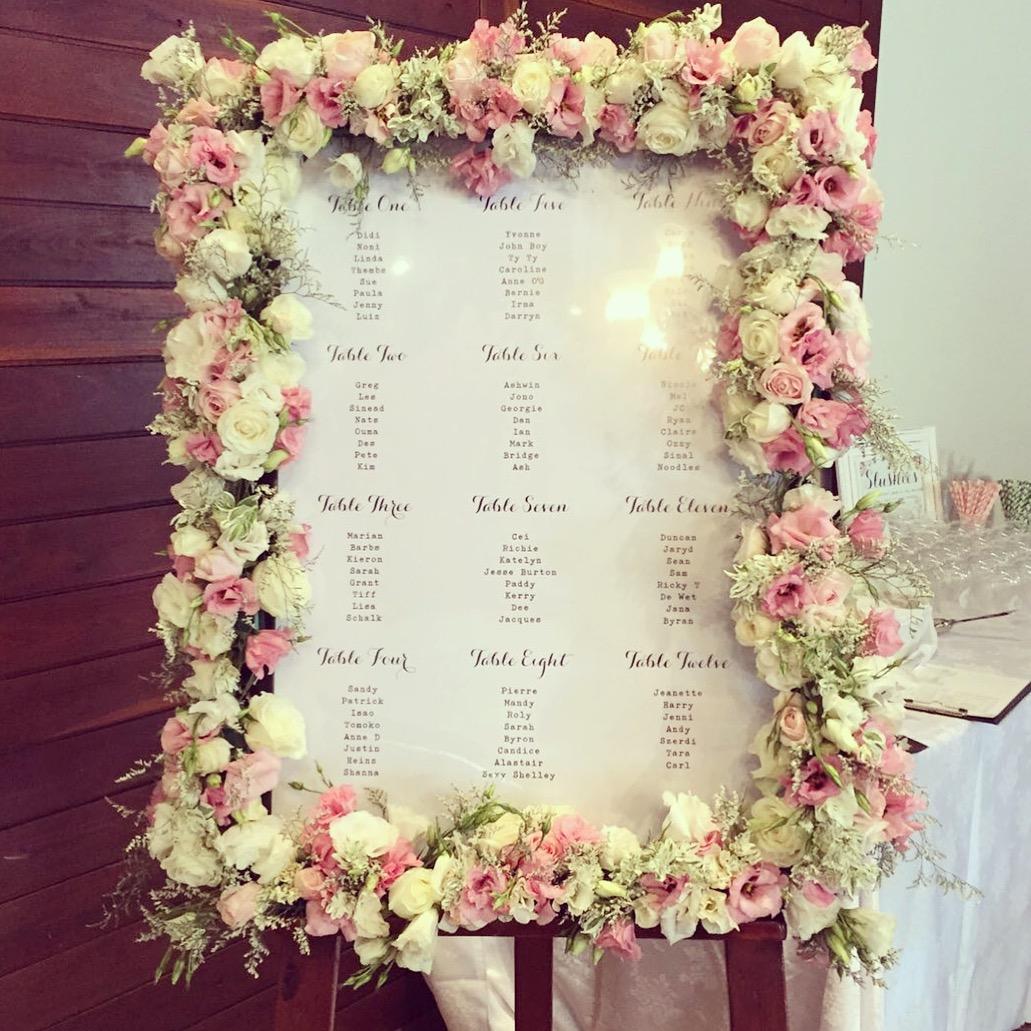 A pretty floral seating plan