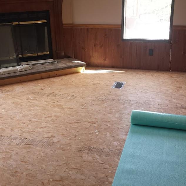 Preparing to lay floor