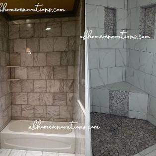 custom tiled bath & shower