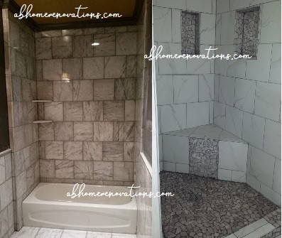 custom tiled bath & shower