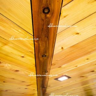 close up of cedar deck wrap