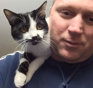 Foster cat on mans shoulders