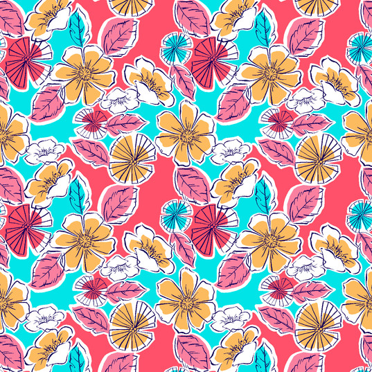 Outlined Floral with Color Blocks- YinCr