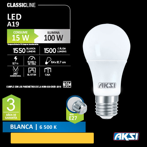 Foco AKSI 15 W LED 127 V