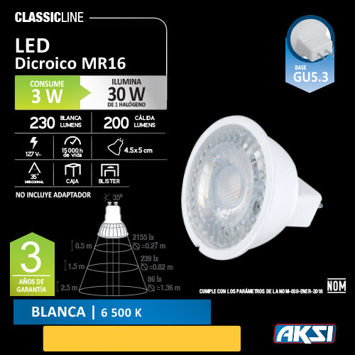 Foco AKSI 3 W LED MR16 127 V