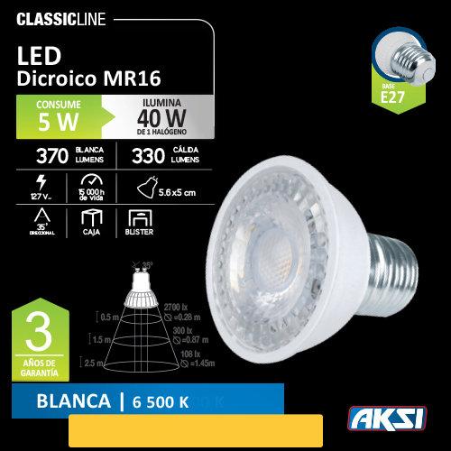 Foco AKSI LED 5W Dicroico 127 V E26