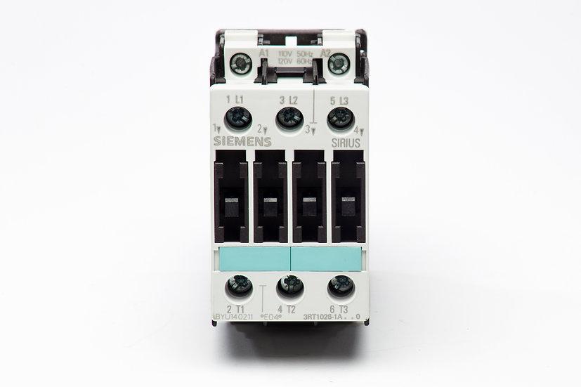 Contactor 3RT1026 Siemens, 7.5 HP @ 220 V; 15 HP @ 440 V, AC-3: 25 A.