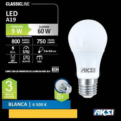 Foco AKSI 9 W LED 127 V
