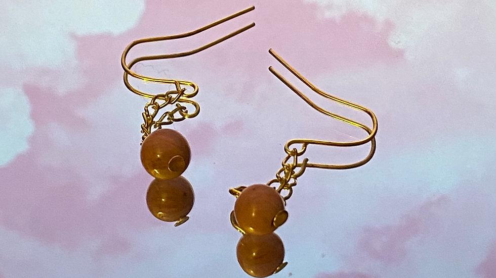 Rhodochrosite chain earrings