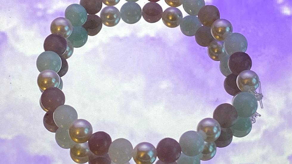 Irene Pearl, Amethyst and Angelite bracelet - size medium