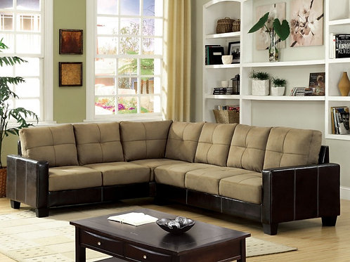 Chocolate Microsuede & Leather 2pc. Sectional
