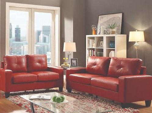 Scarlet Red Leather 2pc. Living Room Set