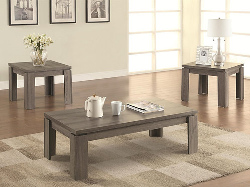3pc. Dark Grey Oak Coffee & End Tables