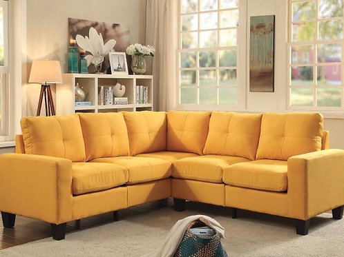Canary Yellow Cotton Blend Sectional