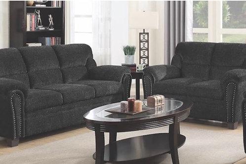 Charcoal Gray Cotton Blend 2pc. Living Room Set