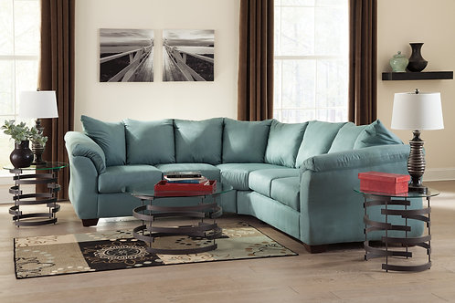 Sky Blue Microsuede 2pc. Sectional