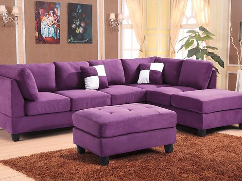 Purple Microsuede 2pc. Sectional