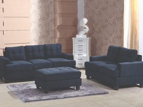 Navy Microsuede 2pc. Living Room Set