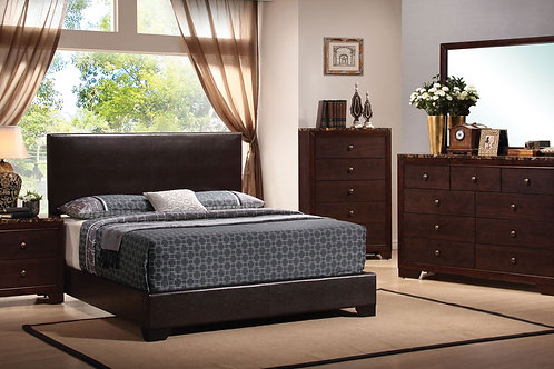 Cappuccino Leatherette 5pc. Bedroom Group